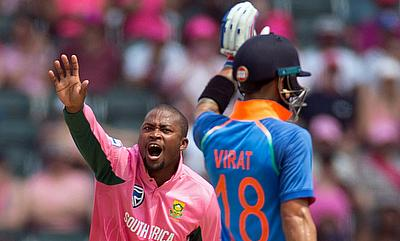 South Africa's Andile Phehlukwayo appeals unsuccessfully for the wicket of Virat Kohli