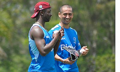 Kemar Roach and Alfonso Thomas (right) during the training session