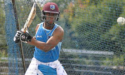Shimron Hetmyer in a training session