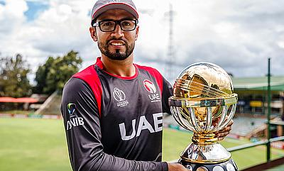 UAE captain Rohan Mustafa with the ICC Qualifiers 2018 trophy