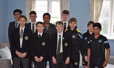 Aakash Chopra with aspiring cricketers at Rydal Penrhos.