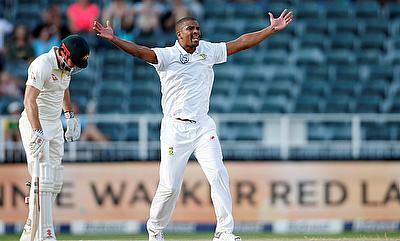 South Africa's Vernon Philander celebrates taking the wicket of Australia's Usman Khawaja