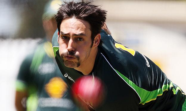 Mitchell Johnson bowls