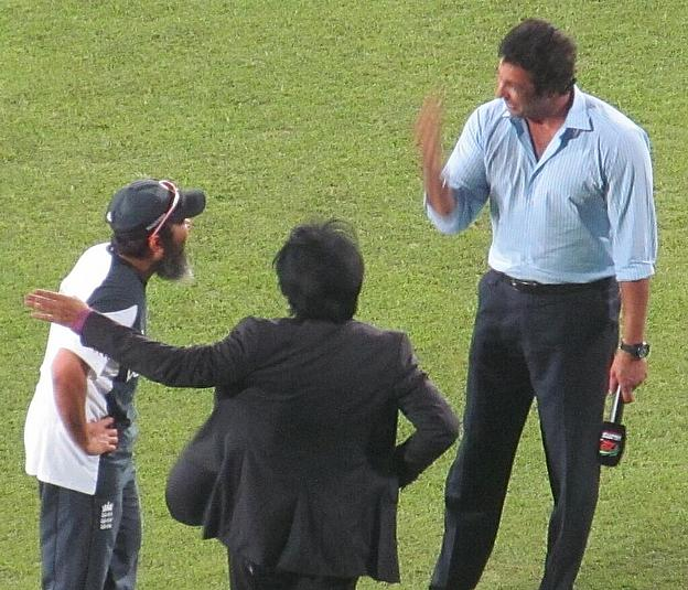Caption this, perhaps, as Ramiz Raja, Mushtaq Ahmed and Wasim Akram catch up