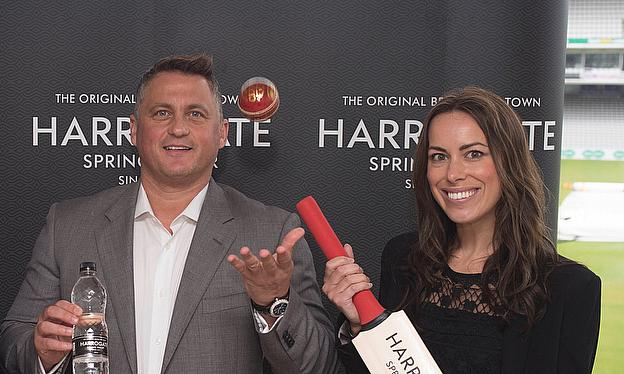 Darren Gough and Harrogate Spring Water's Nicky Reeve launch the partnership at Lord's