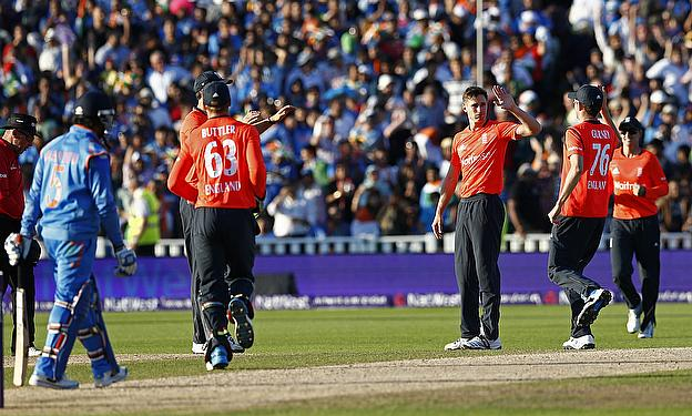 Woakes celebrates during England's Twenty20 International win over India