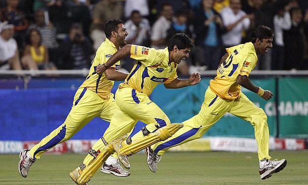 Chennai Super Kings players celebrate