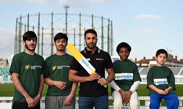 Ravi Bopara and Chance to Shine Street participants at The Kia Oval