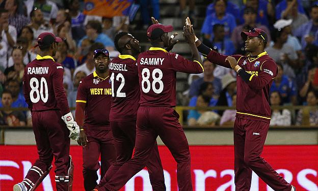 West Indies celebrate a wicket