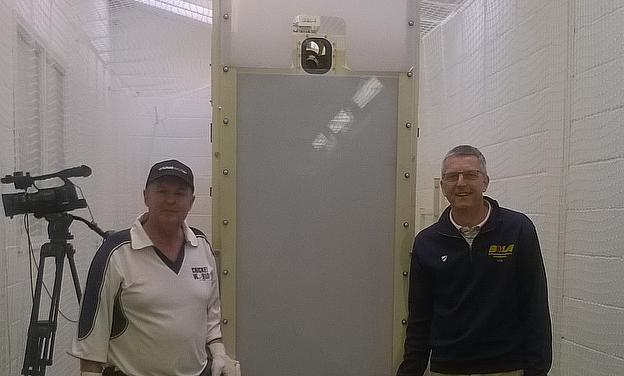 Cricket World's Alastair Symondson (left) recently got to try out the new Trueman by Bola machine