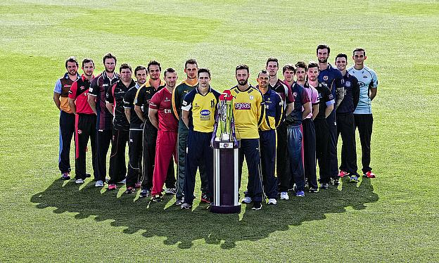 Players from the 18 first-class counties line up at the launch of the 2015 NatWest T20 Blast