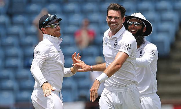 James Anderson celebrates the wicket of the Jason Holder during day five of the second Test in Grenada.