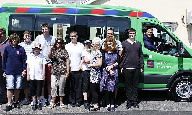 Darren Gough delivers a Lord's Taverners minibus to Doucecroft School