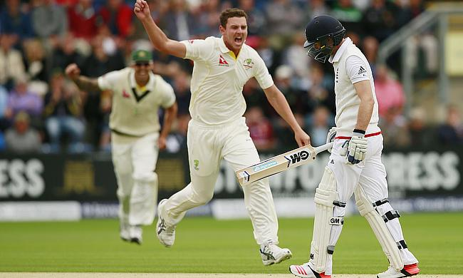 Josh Hazlewood celebrates the dismissal of Adam Lyth in the opening Ashes Test in Cardiff