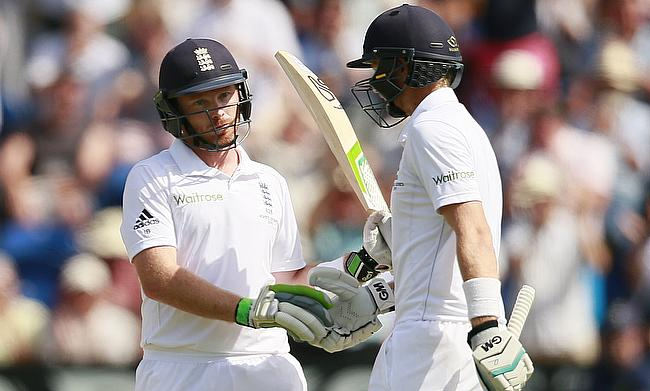 Ian Bell (left) and Joe Root (right) put on a 97-run stand as England have set Australia a target of 412 in the first Ashes Test in Cardiff.
