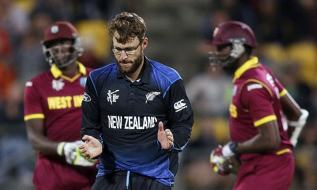 Daniel Vettori celebrates a wicket against West Indies