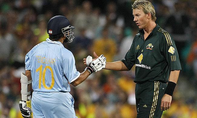 Brett Lee and Sachin Tendulkar following one of their many on-field battles
