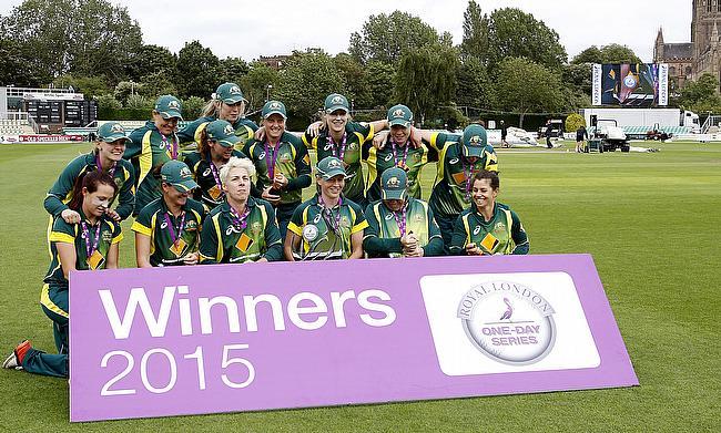 Australian women celebrate winning the Royal London One-Day International series.