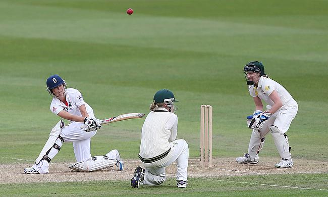 Charlotte Edwards hits out during the 2013 Women's Ashes Test