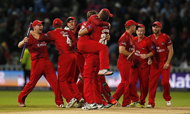 Lancashire celebrate victory in the NatWest T20 Blast 2015