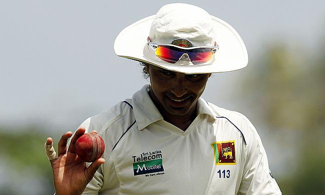 Suresh Randiv registered figures of 3-33 on day one of the tour game against West Indies in Colombo.