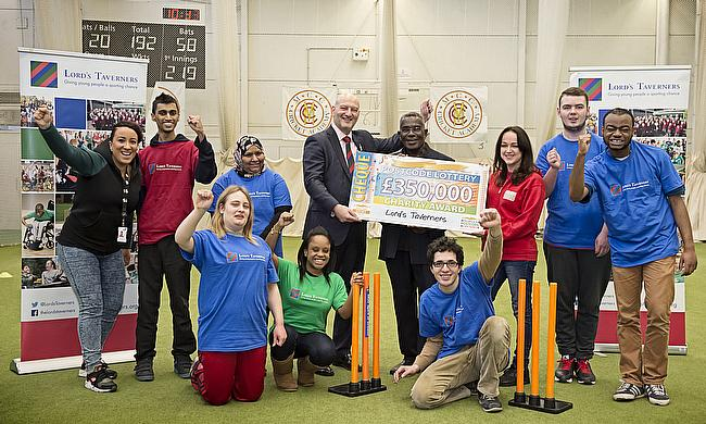 The Lord's Taverners picked up a cheque for £350,000 from the People's Postcode Lottery at Lord's