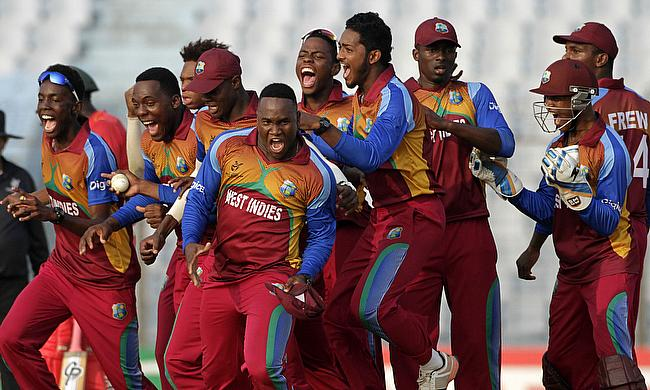 West Indies celebrating their victory over Zimbabwe.