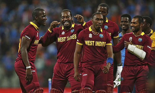 West Indies celebrate victory over India