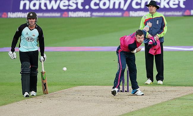 James Harris (right) in action for Middlesex against Surrey