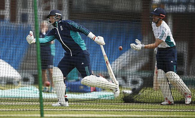 Joe Root (left) and Alastair Cook (right) during nets in Headingley.