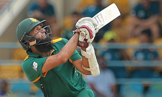 Hashim Amla in action during the practice match against WICB XI.