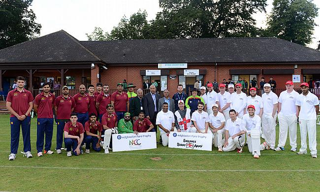 The two teams line up at Attock CC