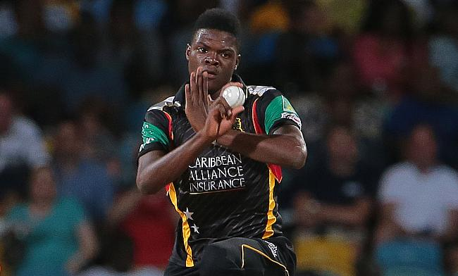 Alzarri Joseph in action for St Kitts and Nevis Patriots in the Caribbean Premier League.