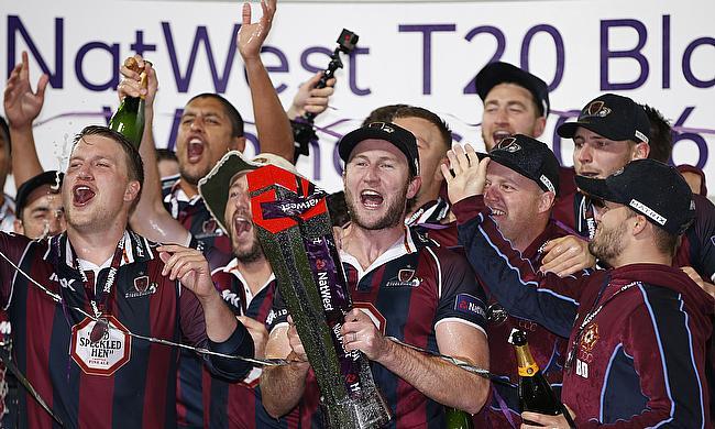 Northants Steelbacks players celebrate their NatWest T20 Blast victory