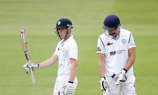 Ben Slater (left) scored a century for Derbyshire on a bowling day.