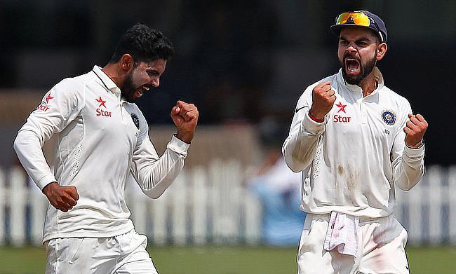 Ravindra Jadeja (left) picked a five-wicket haul for India