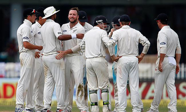 Mark Craig celebrating the wicket of Ajinkya Rahane in the first innings of the first Test in Kanpur.