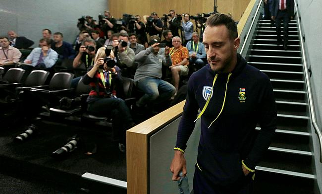 Faf du Plessis at a press conference before the third Test against Australia
