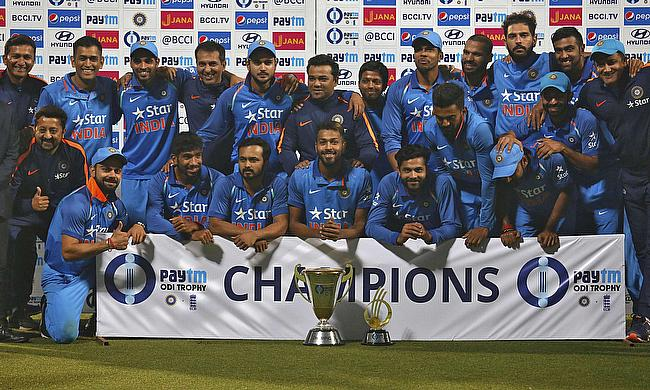 Indian team celebrating the ODI series win against England