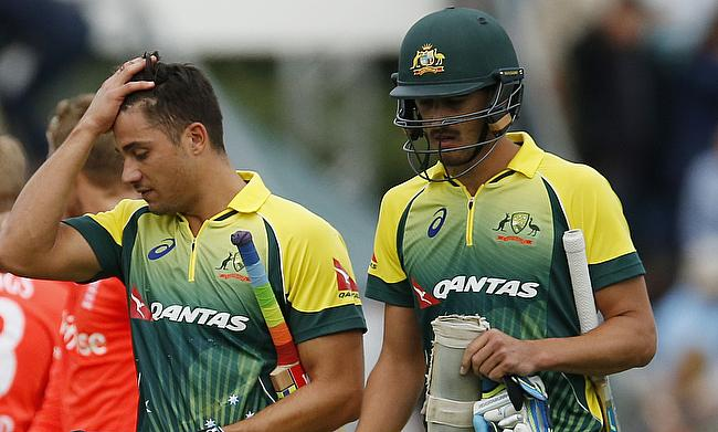 Marcus Stoinis (left) scored an unbeaten 146 and picked three wickets as well