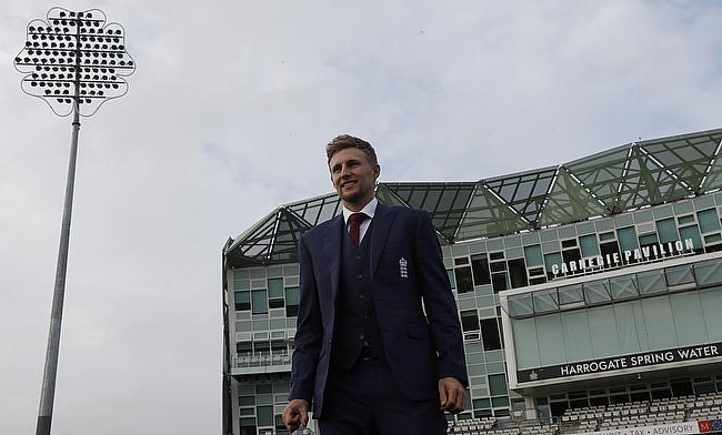 England's Joe Root poses ahead of the press conference