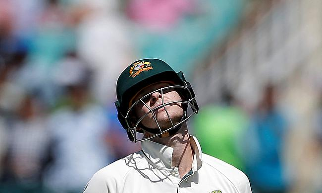 Steven Smith reacts after getting dismissed in the second innings of Dharamsala Test