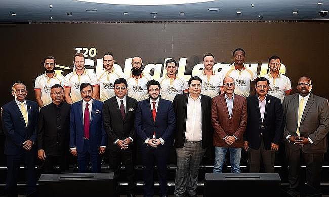 The owners and South African players during the launch of T20 Global League in London