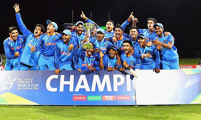 Indian team celebrating their Under 19 World Cup final win over Australia