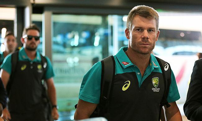 David Warner arriving at Cape Town International Airport