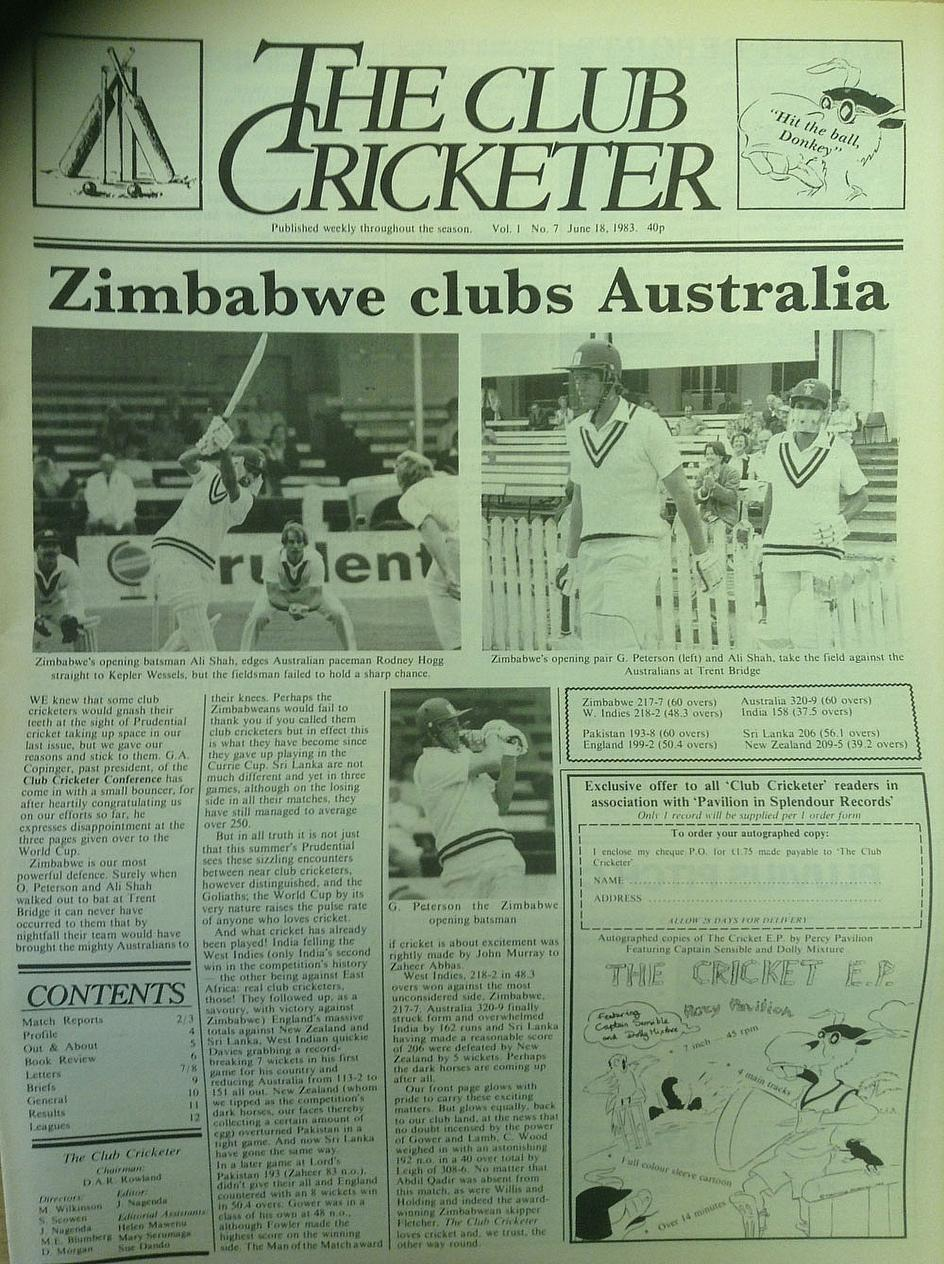 How 'The Club Cricketer' announced Zimbabwe's win - see below for the entire front page