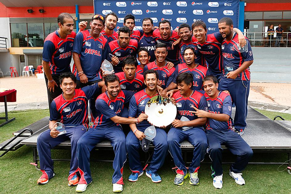 Nepal celebrate their victory after beating Uganda in the final
