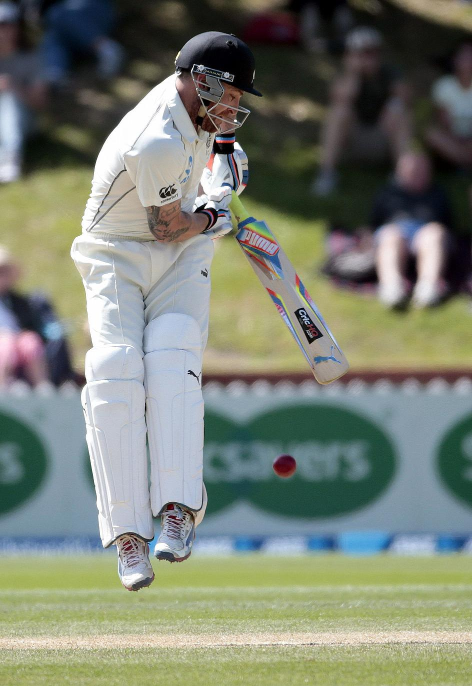 Brendon McCullum plays a leg-side shot