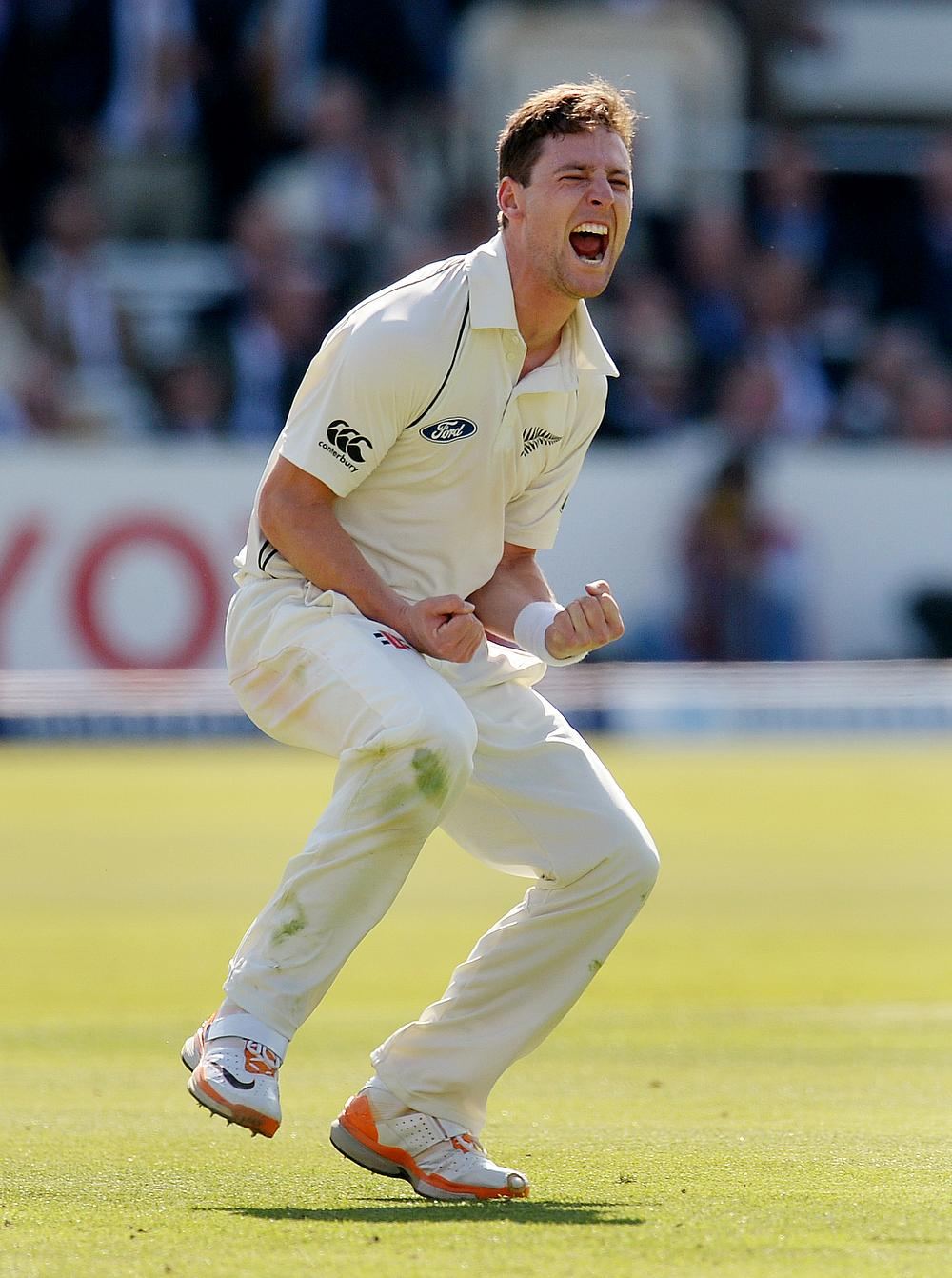 Matt Henry celebrates the wicket of Joe Root in the First Test against England at Lord's.