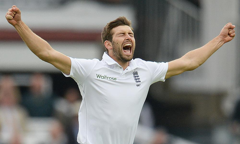 Mark Wood celebrates the wicket of New Zealand captain Brendon McCullum on day three of the first Test at Lord's.
